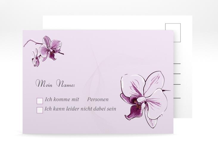 """Antwortkarte Hochzeit """"Modena"""" A6 Postkarte lila"""