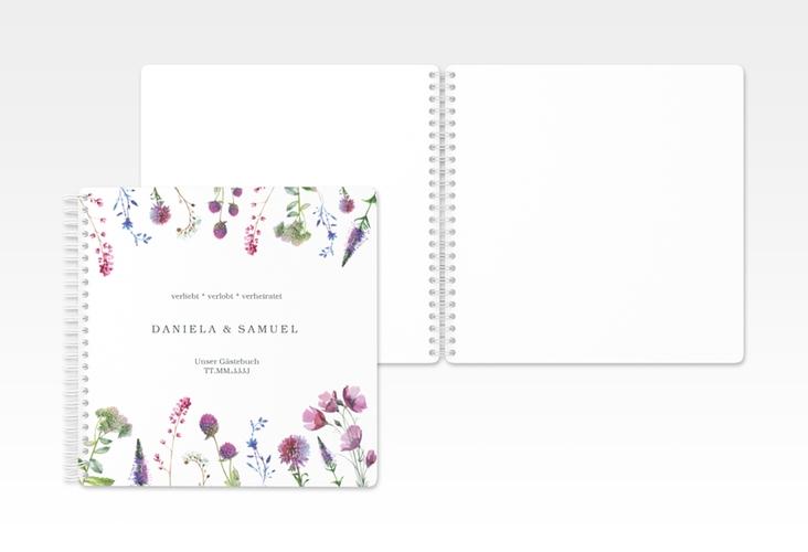 """Gästebuch Hochzeit """"Wildblumen"""" Ringbindung weiss"""