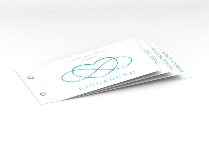 """Hochzeitseinladung """"Infinity"""" Booklet tuerkis"""