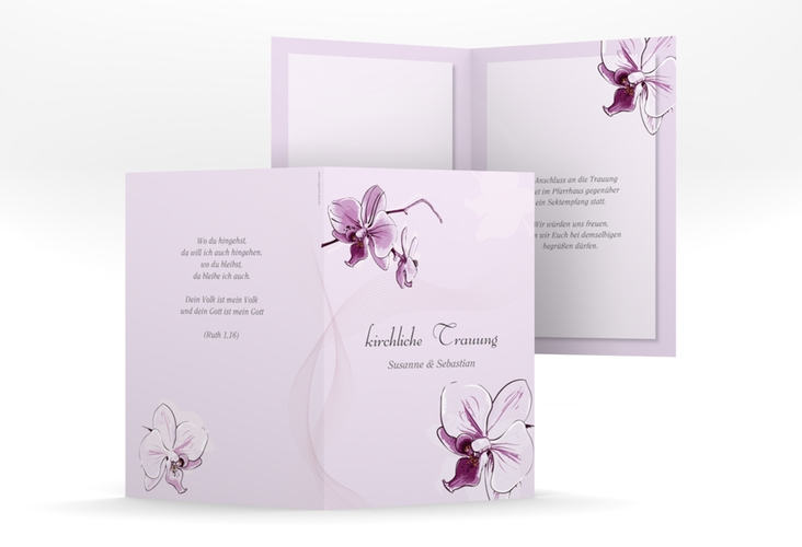 "Kirchenheft Hochzeit ""Modena"" DIN A5 geklappt lila"