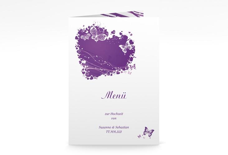 """Menükarte Hochzeit """"Mailand"""" DIN A5 geklappt lila"""