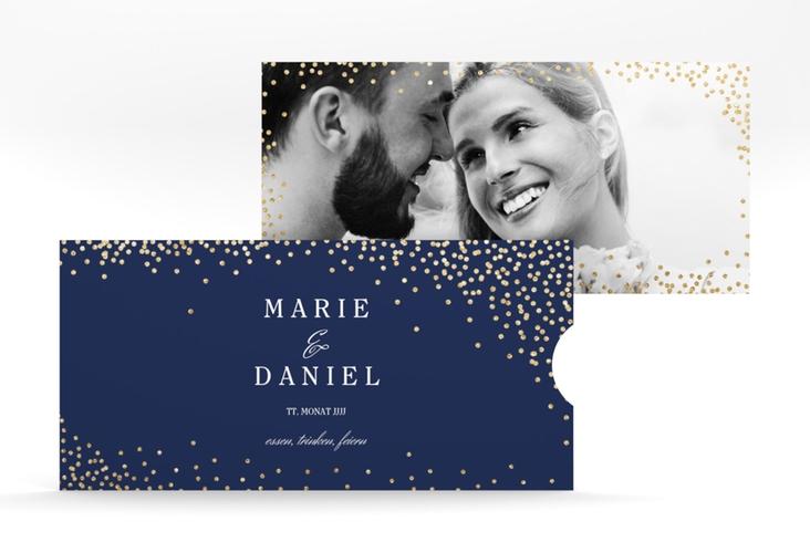 """Hochzeitseinladung """"Glitter"""" Einsteckkarte blau"""