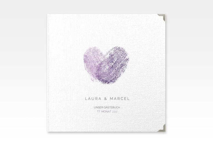 """Gästebuch Selection Hochzeit """"Fingerprint"""" Leinen-Hardcover lila"""