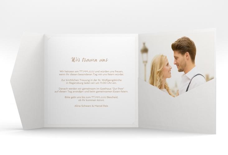"""Hochzeitseinladung """"Glam"""" Pocketfold beige"""