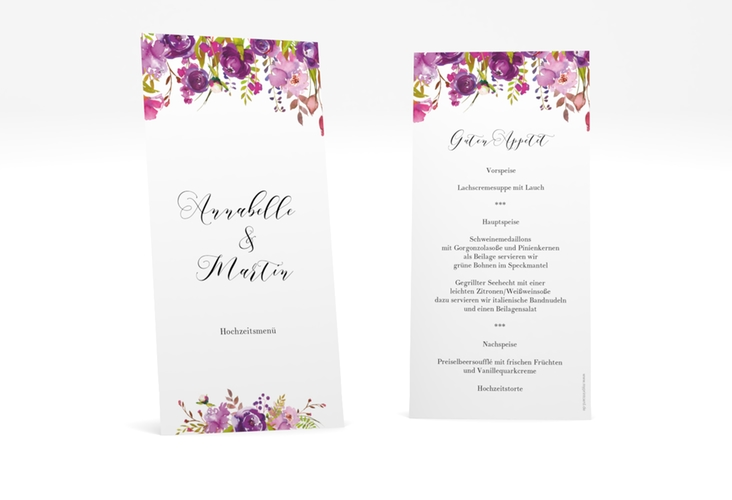 "Menükarte Hochzeit ""Violett"" DIN lang hoch weiss"