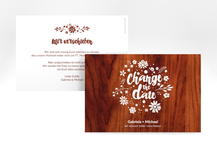 "Change the Date-Karte ""Buttercup"" A6 quer rot"