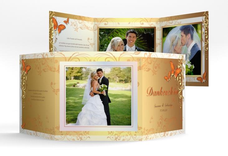 "Dankeskarte Hochzeit ""Toulouse"" Quadr. Karte doppelt orange"