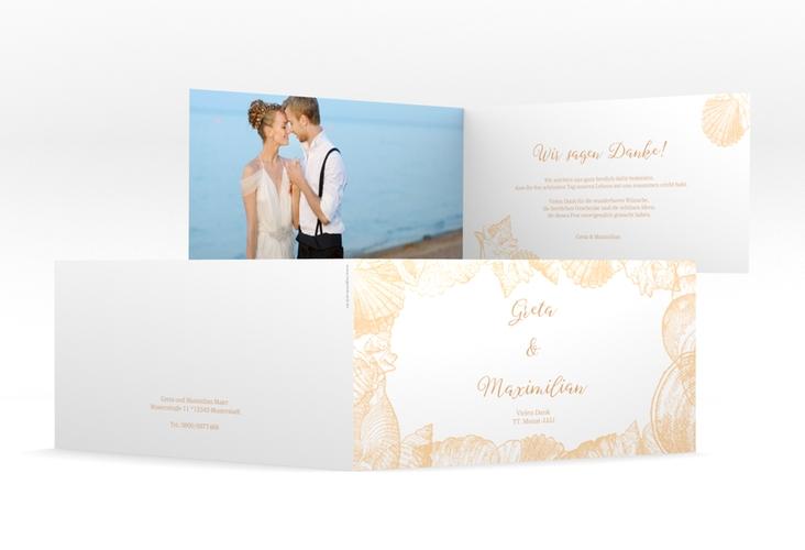 """Dankeskarte Hochzeit """"Muschelreich"""" DIN lang Klappkarte beige"""