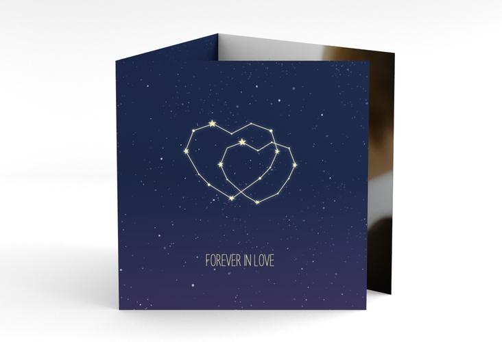 "Dankeskarte Hochzeit ""Sternenbild"" Quadr. Karte doppelt blau"