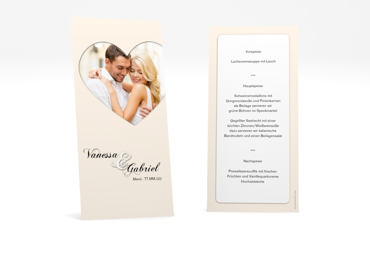 """Menükarte Hochzeit """"Sweetheart"""" DIN lang hoch"""