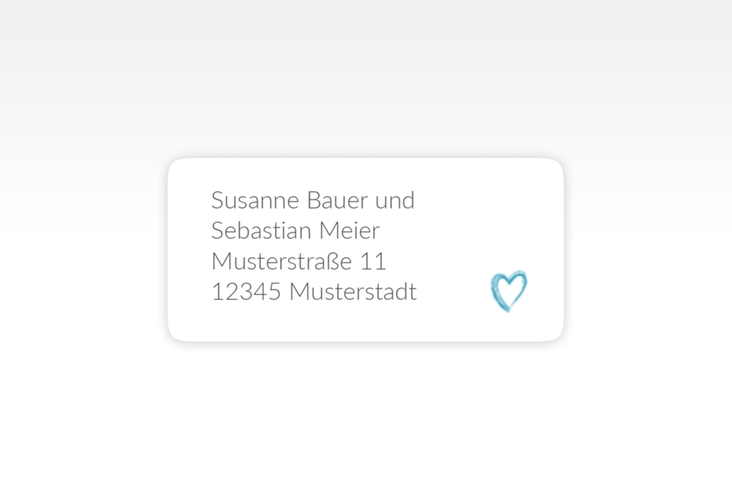"""Absenderetikett Hochzeit """"Liebe"""" 45,7 x 21,2 mm tuerkis"""