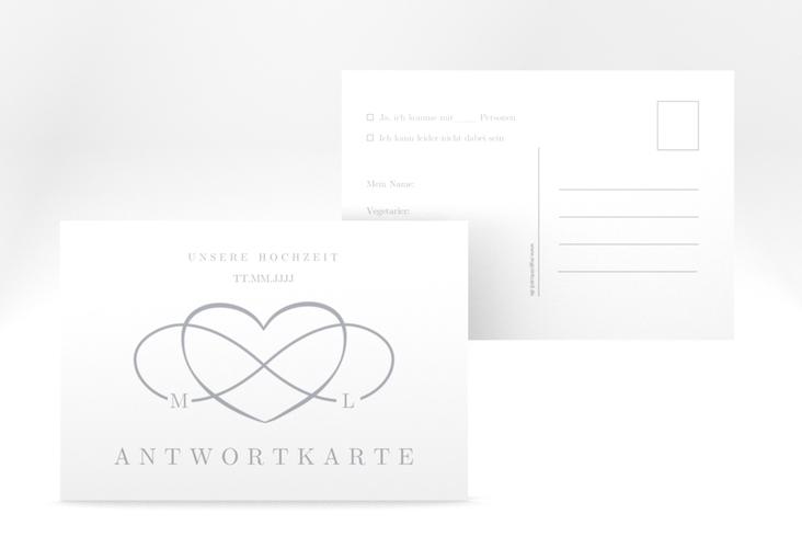 """Antwortkarte Hochzeit """"Infinity"""" A6 Postkarte grau"""