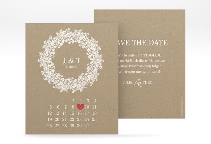 """Save the Date-Kalenderblatt """"Mariage"""" Kalenderblatt-Karte beige"""