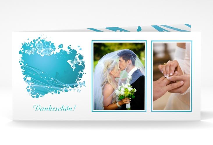 """Danksagungskarte Hochzeit """"Mailand"""" DIN lang Klappkarte tuerkis"""