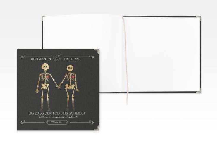 """Gästebuch Selection Hochzeit """"Bones"""" Leinen-Hardcover schwarz"""