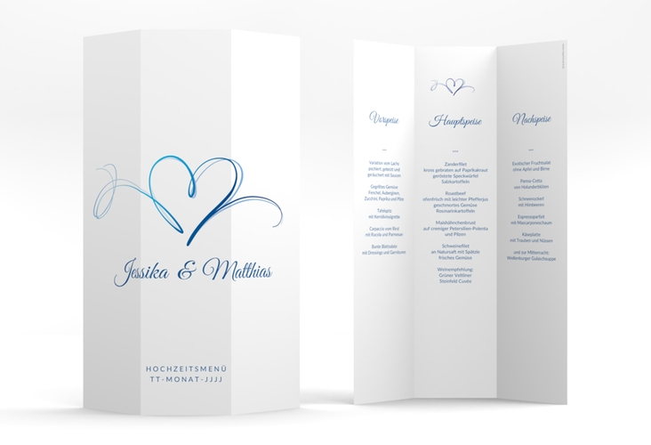 "Menükarte Hochzeit ""Envie"" DIN A4 Wickelfalz blau"