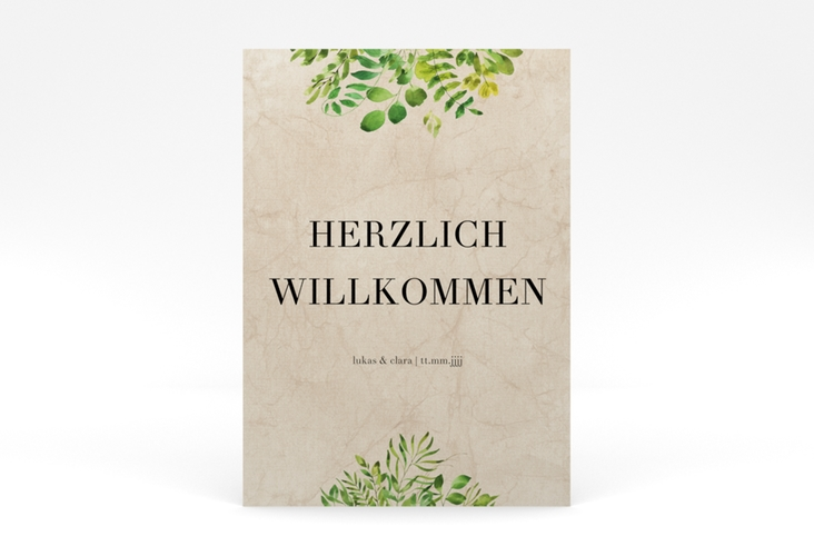"""Willkommensschild Poster """"Botany"""" 50 x 70 cm Poster beige"""