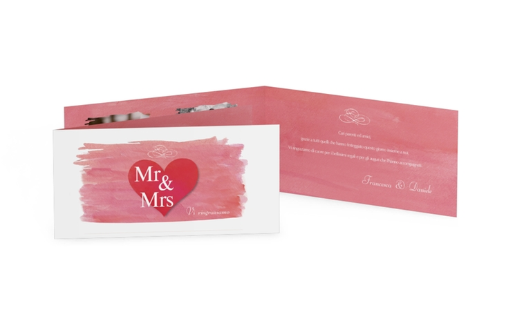 Ringraziamenti matrimonio collezione Fuerteventura DIN lang Klappkarte rosa