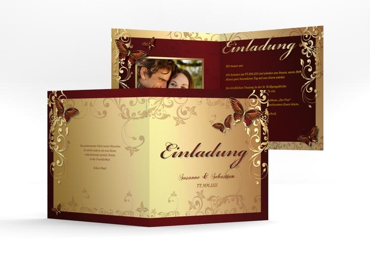 """Hochzeitseinladung """"Toulouse"""" Quadratische Klappkarte rot"""