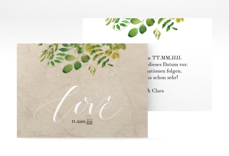 "Save the Date-Visitenkarte ""Botany"" Visitenkarte beige"