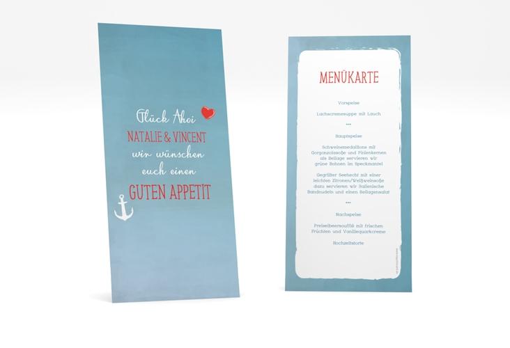 """Menükarte Hochzeit """"Ehehafen"""" DIN lang hoch blau"""