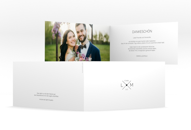 """Dankeskarte Hochzeit """"Initials"""" DIN lang Klappkarte"""