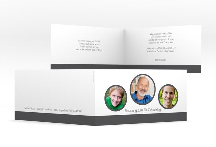 """Einladungskarte """"Anton/Antonia"""" DIN lang Klappkarte grau"""