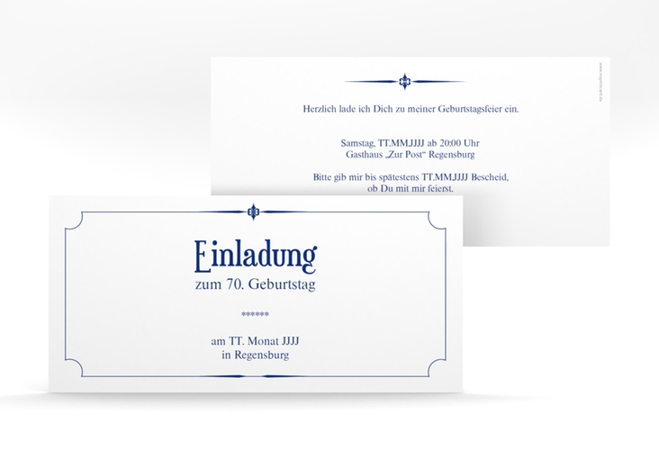 "Einladungskarte ""Helmut/Helmine"" DIN lang blau"
