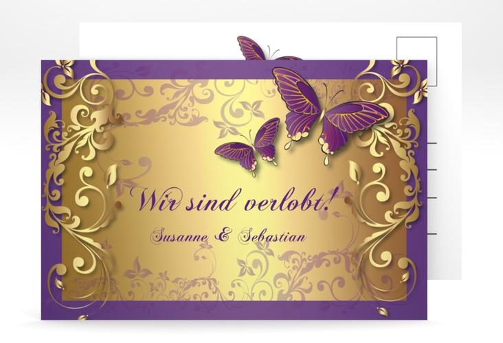 "Verlobungskarte Hochzeit ""Toulouse"" A6 Postkarte lila"