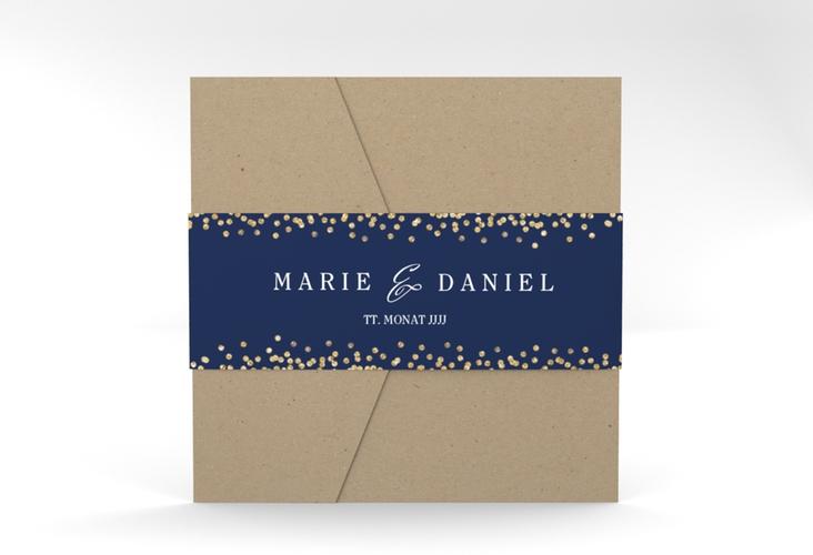 """Hochzeitseinladung """"Glitter"""" Pocketfold blau"""