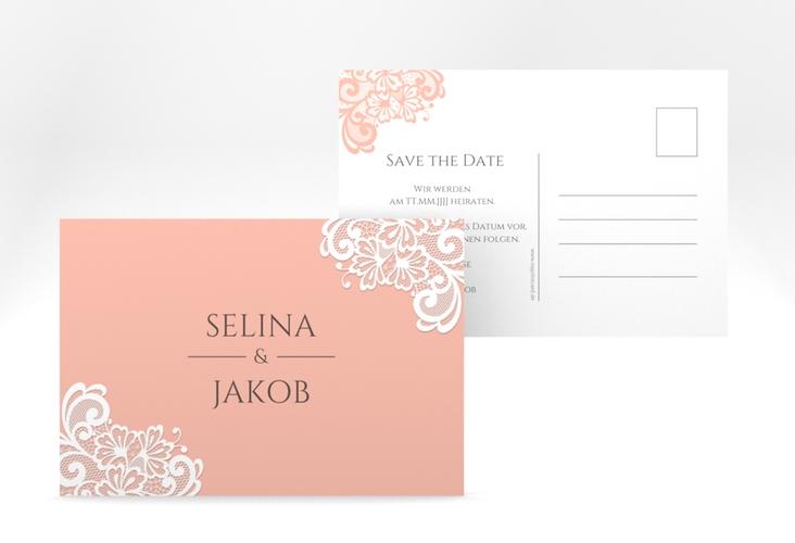 "Save the Date-Postkarte ""Vintage"" A6 Postkarte apricot"
