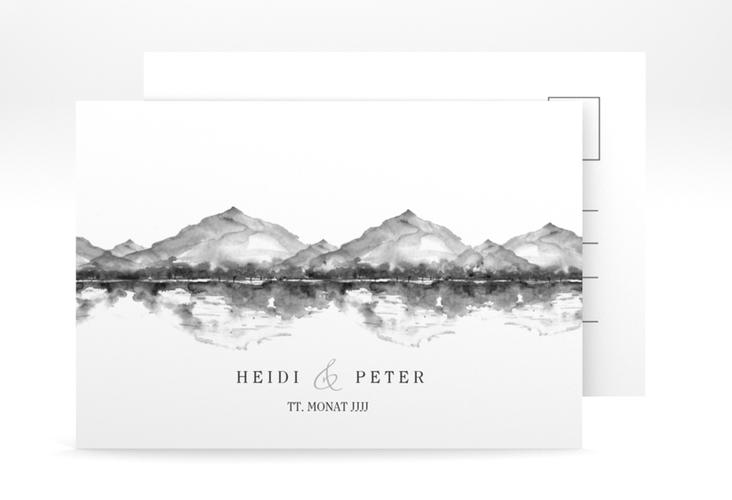 "Antwortkarte Hochzeit ""Bergliebe"" A6 Postkarte grau"