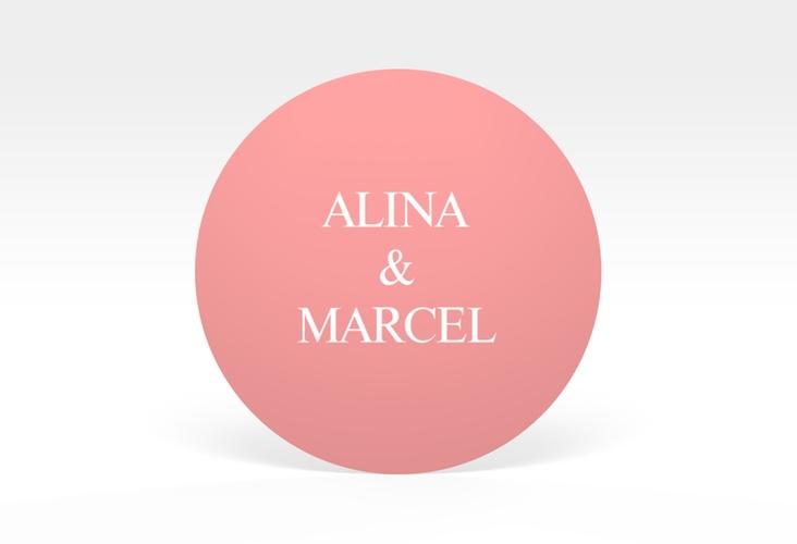 """Aufkleber Hochzeit """"Classic"""" Aufkleber, selbstklebend, rund rosa"""