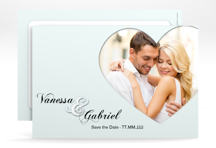 """Save the Date-Karte """"Sweetheart"""" A6 quer tuerkis"""