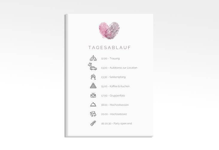 """Tagesablauf Leinwand Hochzeit """"Fingerprint"""" 50 x 70 cm Leinwand pink"""