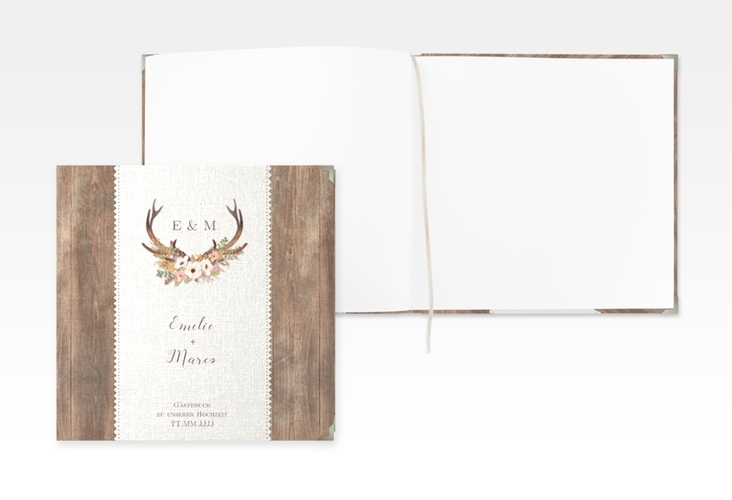 "Gästebuch Selection Hochzeit ""Heimatjuwel"" Leinen-Hardcover braun"