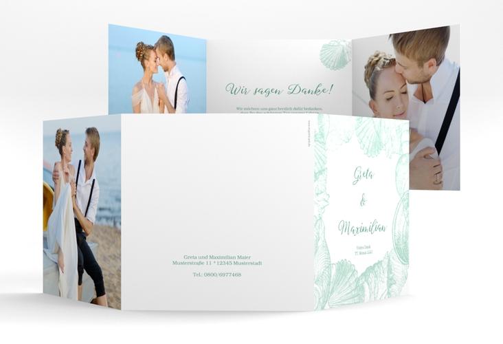 """Dankeskarte Hochzeit """"Muschelreich"""" Quadr. Karte doppelt mint"""