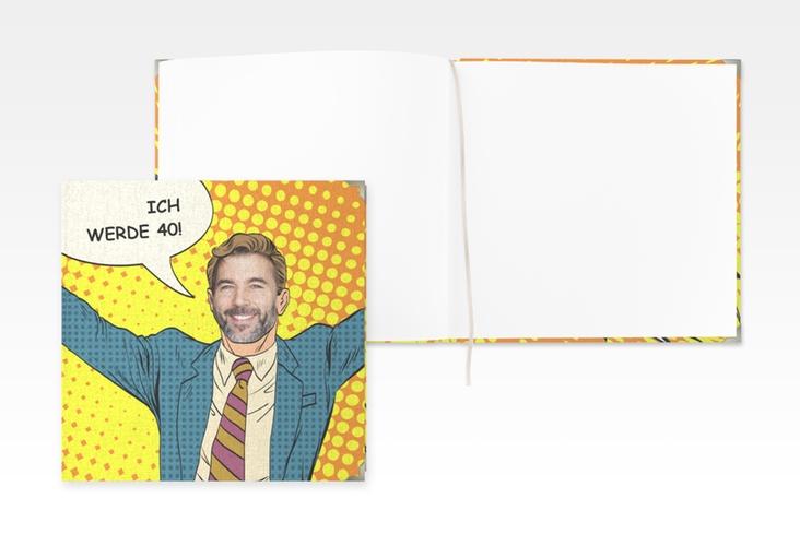 """Gästebuch Selection Geburtstag """"Popart Man"""" Leinen-Hardcover gelb"""