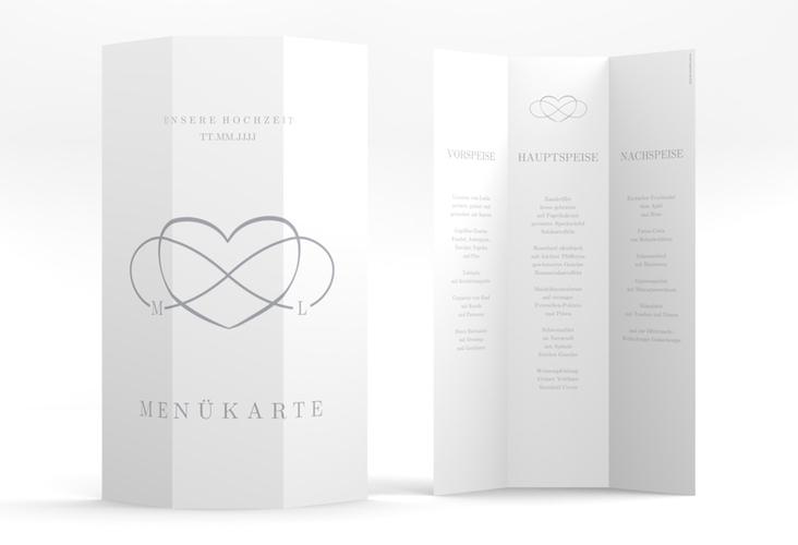 """Menükarte Hochzeit """"Infinity"""" DIN A4 Wickelfalz grau"""