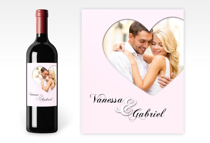 """Weinetikett zur Hochzeit """"Sweetheart"""" Etikett Weinflasche 4er Set rosa"""