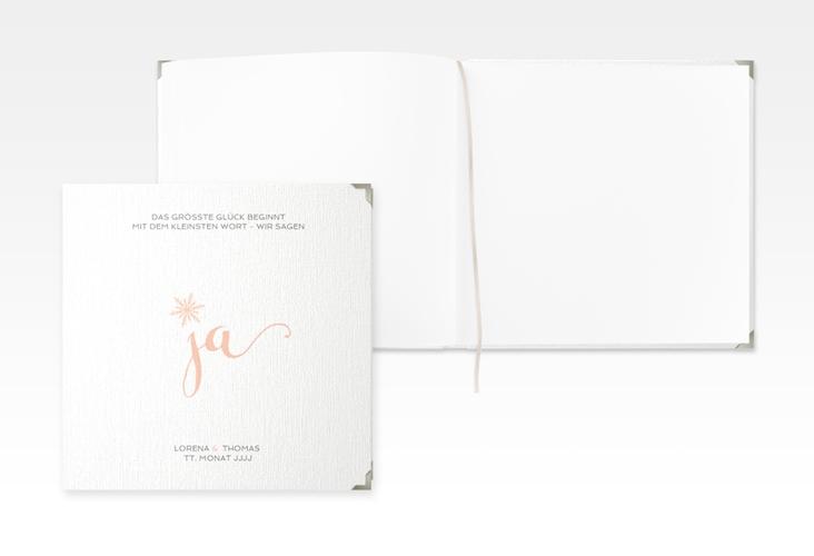 "Gästebuch Selection Hochzeit ""Snowflake"" Leinen-Hardcover apricot"