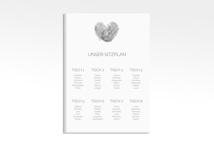 "Sitzplan Leinwand Hochzeit ""Fingerprint"" 50 x 70 cm Leinwand schwarz"
