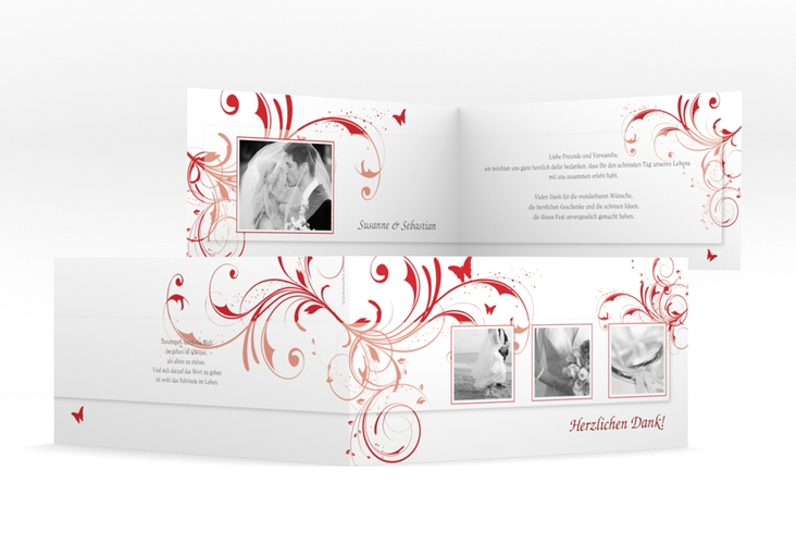 "Dankeskarte Hochzeit ""Palma"" DIN lang Klappkarte rot"