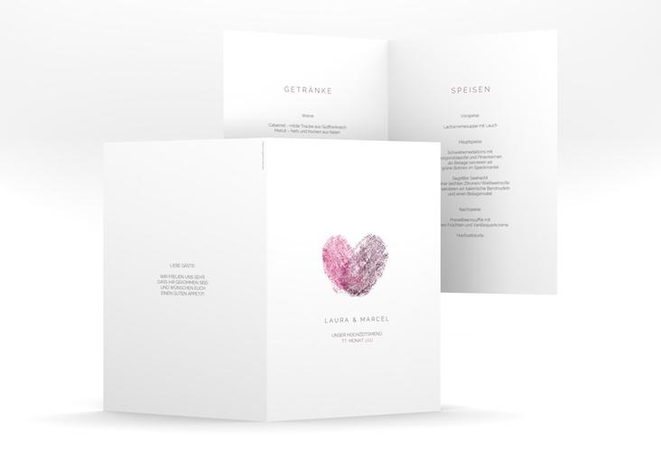 """Menükarte Hochzeit """"Fingerprint"""" DIN A5 geklappt pink"""