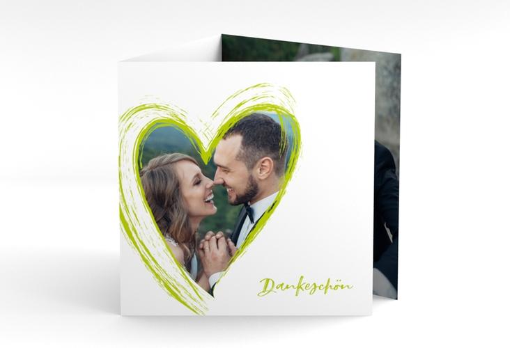 "Dankeskarte Hochzeit ""Liebe"" Quadr. Karte doppelt gruen"