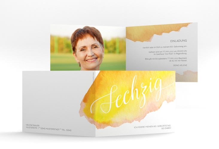 """Einladungskarte """"Aquarell"""" A6 Klappkarte Quer gelb"""