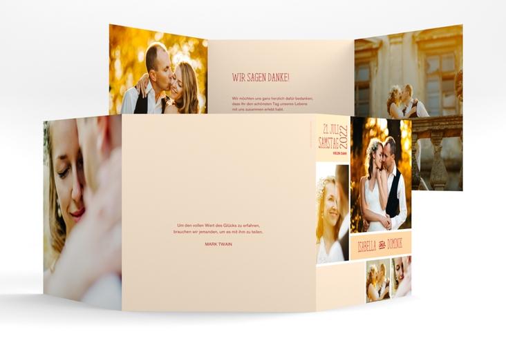 "Dankeskarte Hochzeit ""Gallery"" Quadr. Karte doppelt apricot"