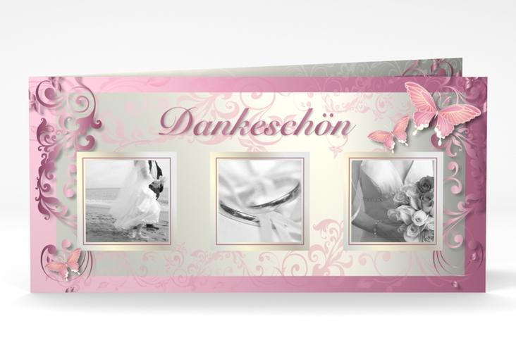 "Dankeskarte Hochzeit ""Toulouse"" DIN lang Klappkarte rosa"