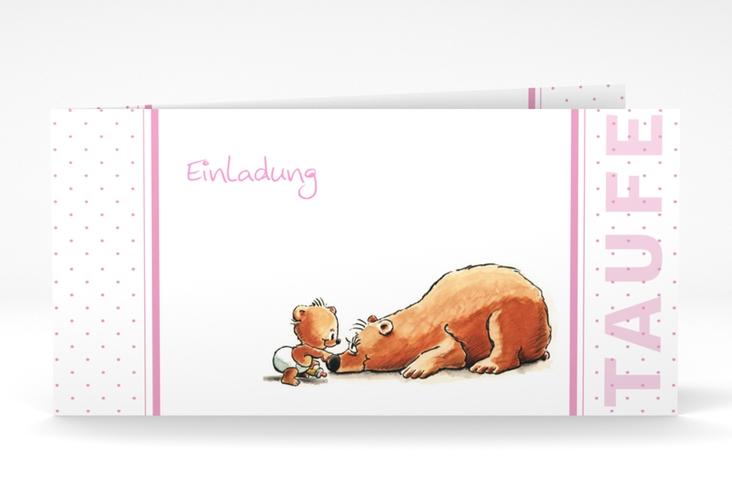 """Einladungskarte Taufe """"Dinky"""" DIN lang Klappkarte rosa"""