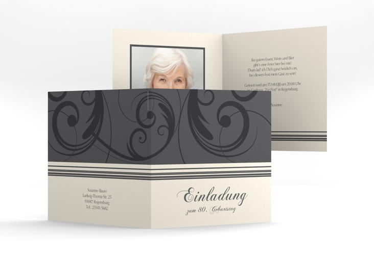 """Einladungskarte """"Katharina"""" Quadratische Klappkarte grau"""